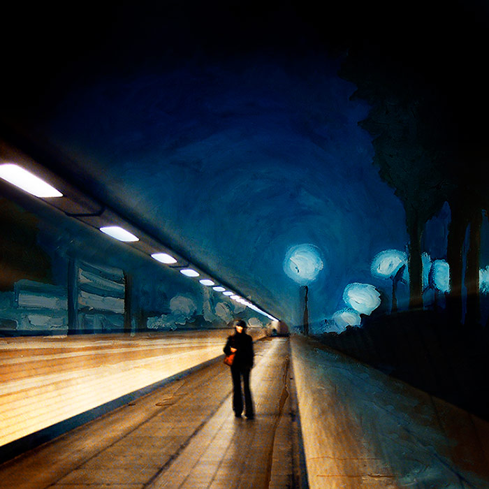 Destination Unknown, Combination of a painting and a photo, Lambdaprint 80 x 80 cm