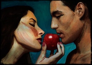 Forbidden Fruit - Acrylic on paper, edited in Photoshop