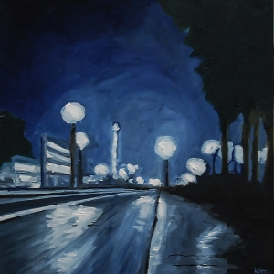 Blue City - Oil On Canvas - 40 x 40 cm