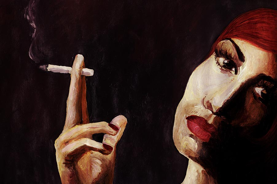 Smoking - Oil on Paper - 20 x 30 cm