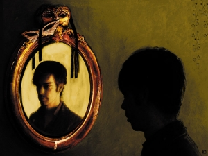 Man In The Mirror - Silver Junkie - Acrylic on paper, edited in Photoshop