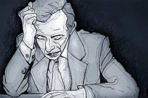 Sad Man - Drawing - Edited in Photoshop