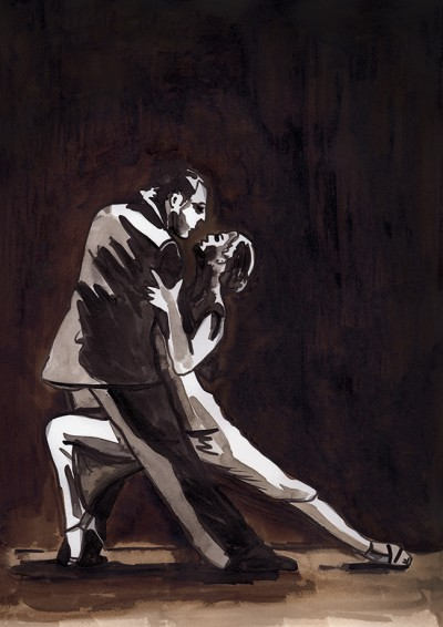Brush & ink drawing - Dance