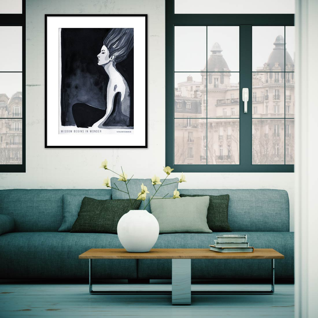 Ink illustration poster in an interior
