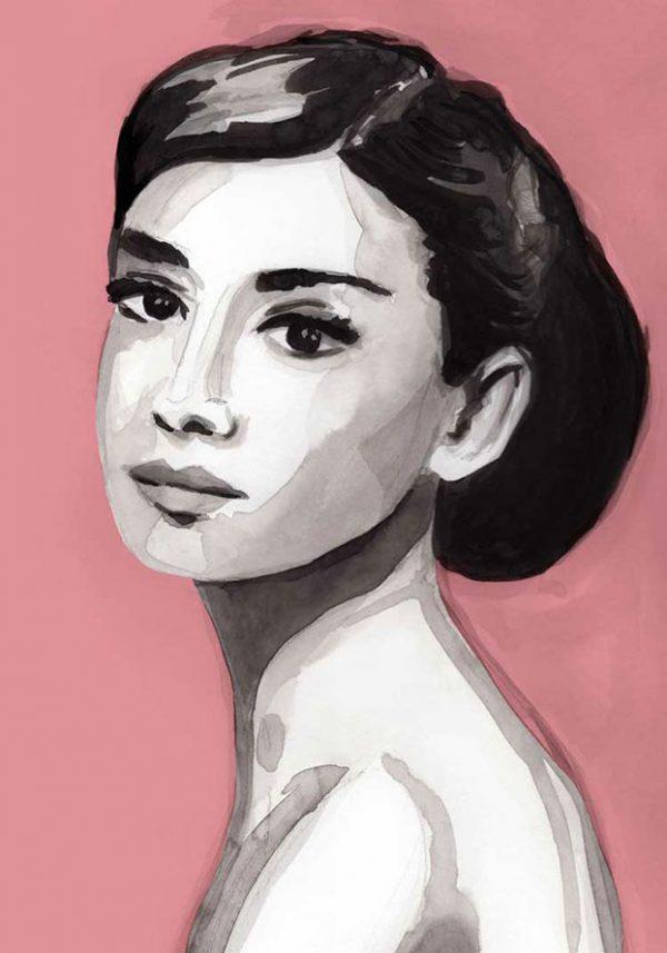 Wall art pink audrey hepburn