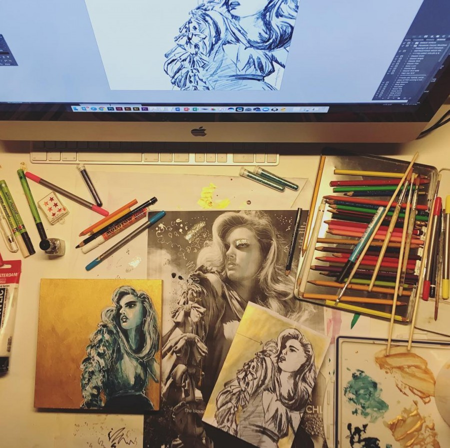 About last night messydesk artvibes topview