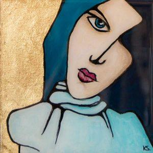 Little Miss Beth Blue - Resin art