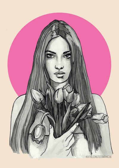 Girl with tulips poster