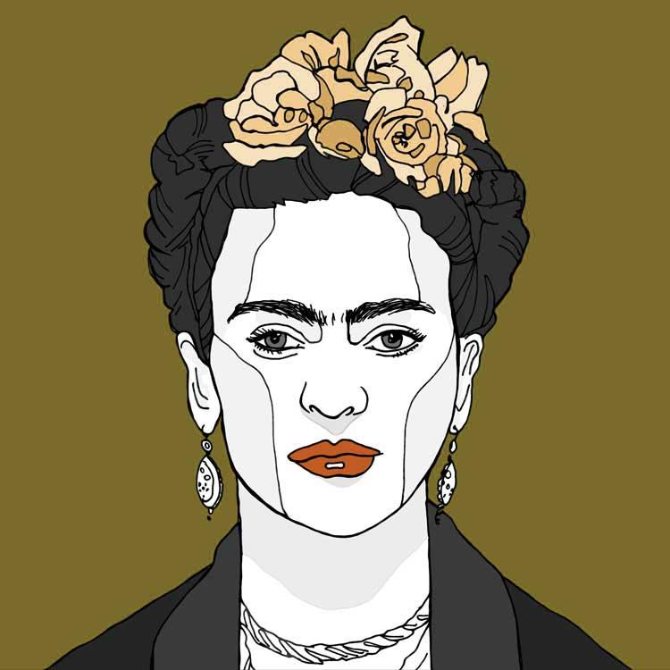Frida Kahlo portret kunst print goud