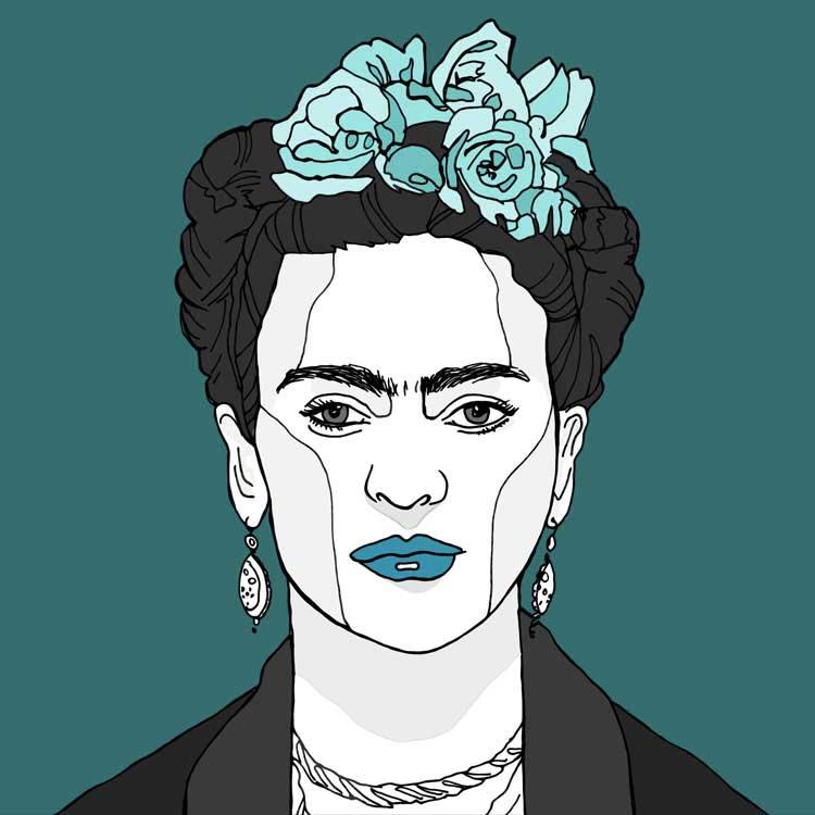 Frida Kahlo kunst print Turquoise