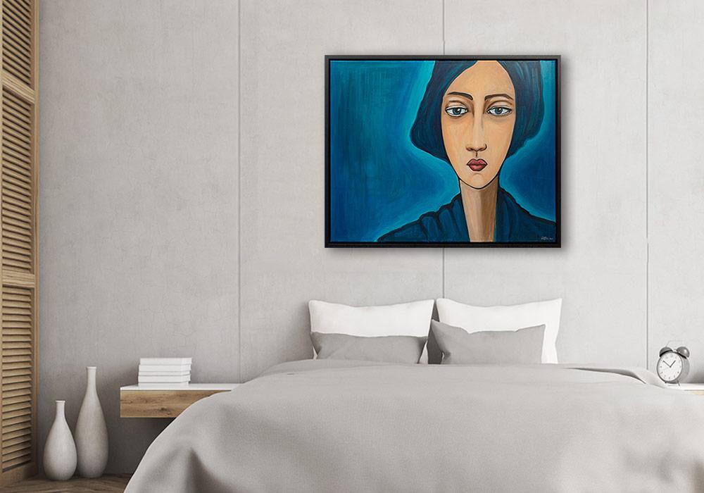 Slaapkamer met schilderij