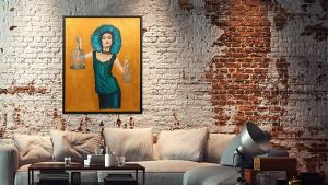 Large gold painting in a loft interior