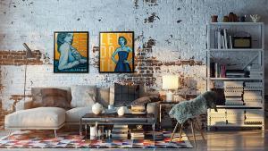 Gouden kunst in loft interieur