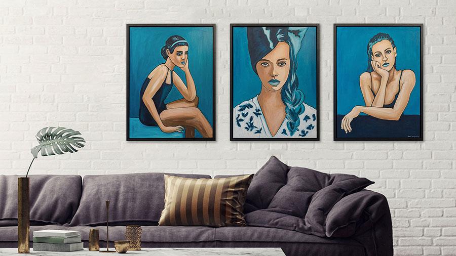 Blauwe schilderijen te koop