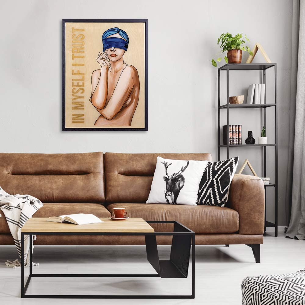 Love yourself - Affirmations artwork in a modern interior