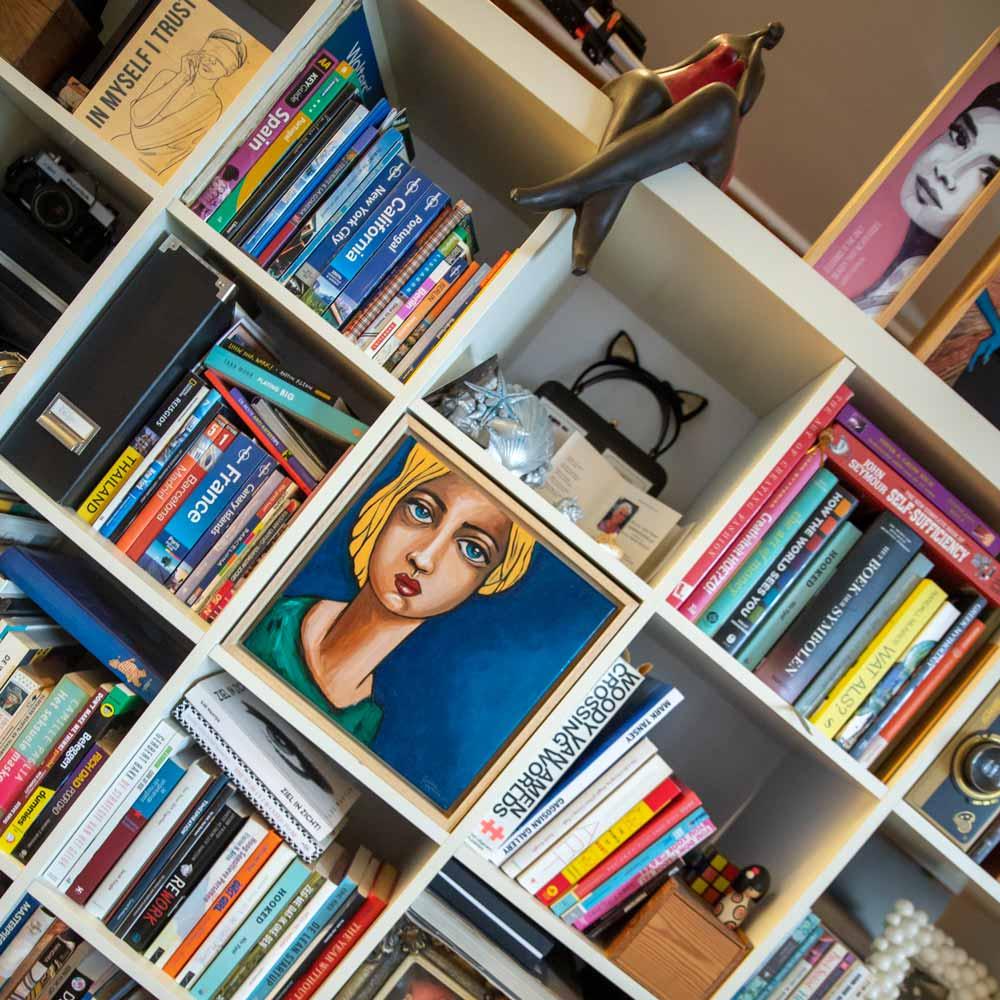 Painting in bookshelf