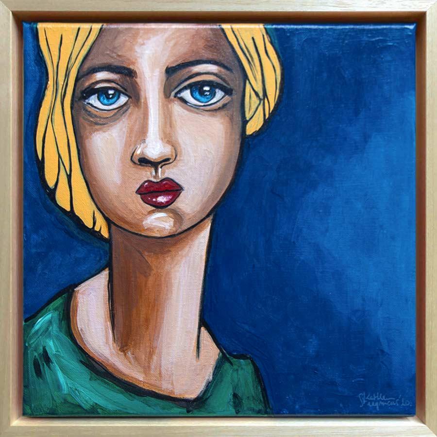 Small acrylic portrait painting