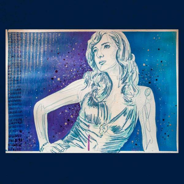 embellished blue in art print