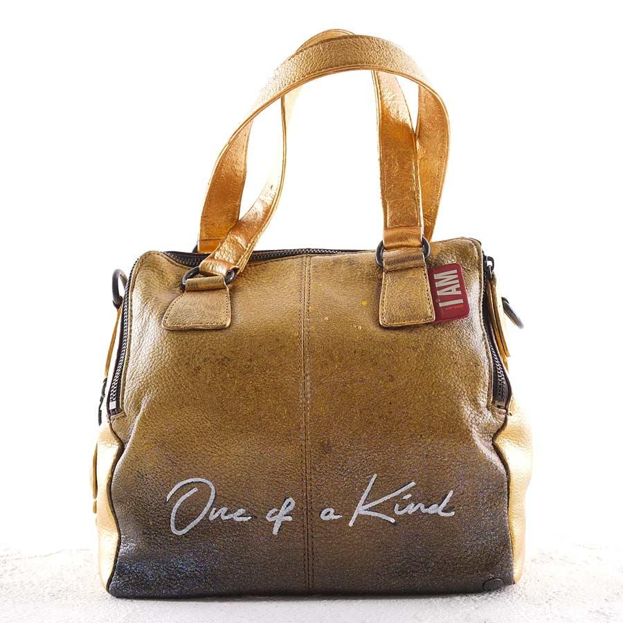 golden hand painted luxury hang bag
