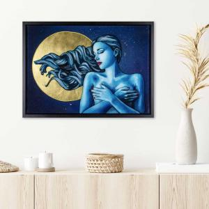 Figurative art with full moon in a white interior