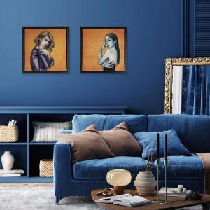 Gold resin artwork in blue interior