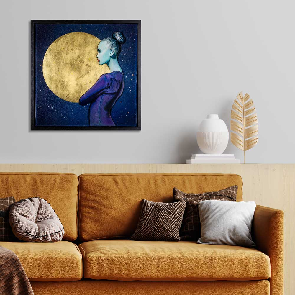 Full moon resin artwork with gold leaf in interior