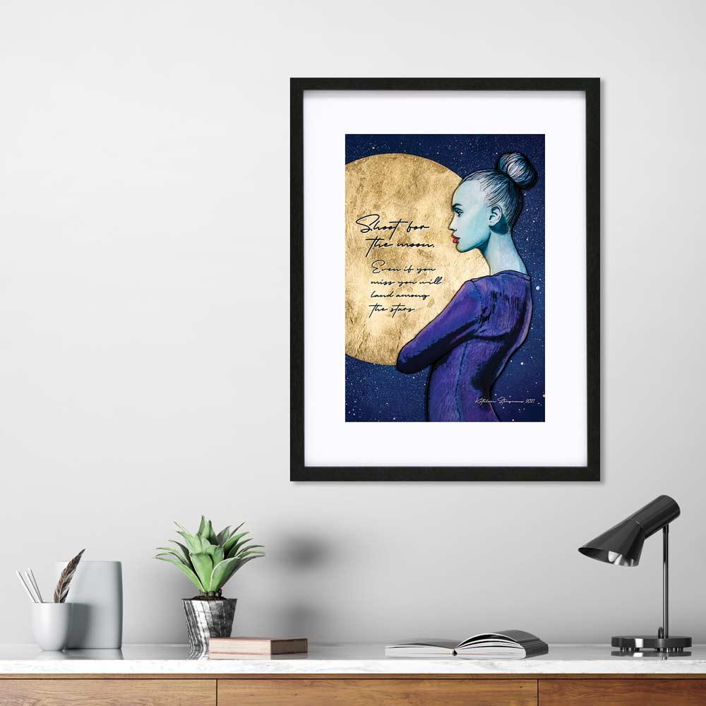Shoot for the moon - Inspirational art print